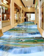 3d pvc flooring custom photo mural picture wall sticker Waterfall goldfish floor painting room wallpaper for walls 3d