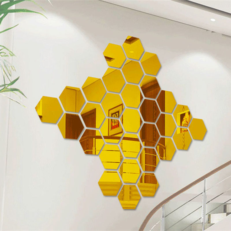 12 Pieces / Pack Hexagonal Home Decor Wall Stickers 3D DIY Acrylic ...