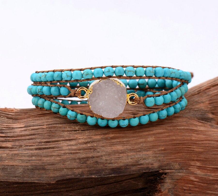 Druzy bracelet gilded drusy charm 3 strands wrap bracelets for Unique handmade jewelry wholesale