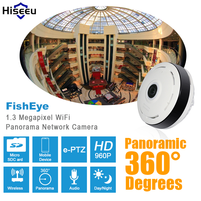 HD 960P Panoramic IP camera 360 degree Full View Mini fisheye CCTV Camera 1.3MP Network Home Security WiFi Camera Hiseeu erasmart hd 960p p2p network wireless 360 panoramic fisheye digital zoom camera white