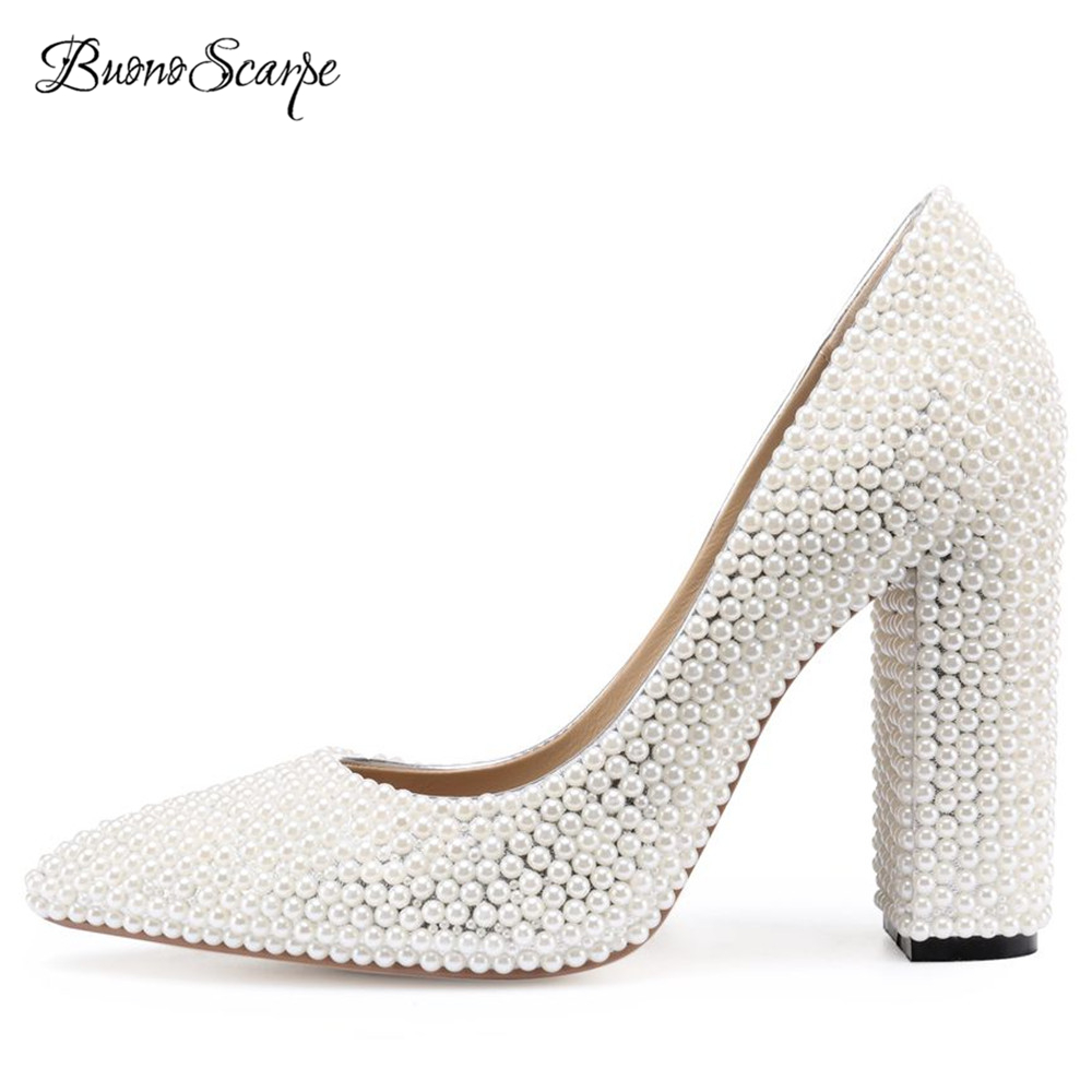 BuonoScarpe 2018 Chunky Pearl High Heel Wedding Shoes Bride Pointed Toe White Pearl Pumps Elegant Lady