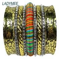 LADYMEE Indian Bracelet Vintage Bangles For Women Luxury Rhinestone Multilayers Bracaelets Pulseiras Wholesale Fashion Jewelry