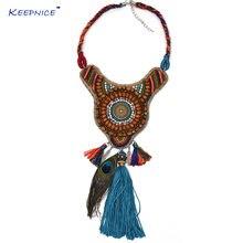 Ожерелье чокер с бусинами в стиле бохо многослойное ожерелье