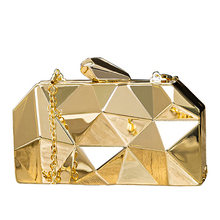 NYHED Gold Acrylic Box Geometry Clutch Evening Bag Elegent Chain Women Handbag For Party Shoulder Wedding/Dating/Party