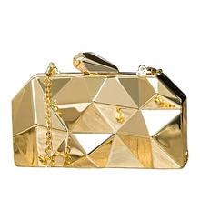 все цены на NYHED Gold Acrylic Box Geometry Clutch Evening Bag Elegent Chain Women Handbag For Party Shoulder Bag For Wedding/Dating/Party онлайн