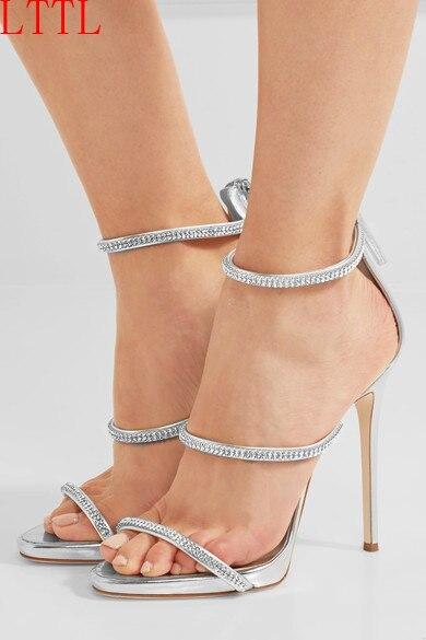 ФОТО Elegant Summer Crystal Fashion Sliver Sandals Rhinestone Open Toe Pumps Back Zipper sexy thin high heels Wedding Shoes Woman