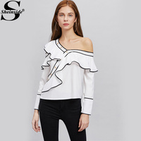 Sheinside Contrast Ruffle Blouse Asymmetrical Cute Tops 2017 Women White Layered Summer Tops Cold Shoulder Long