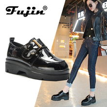 Fujin 2019 Autumn Women Flat Creepers Platform Shoes Pu Slip On Loafers Moccains Casual Leather