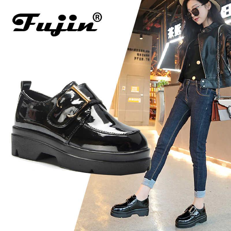 Fujin/2019 г., осенняя женская обувь на плоской толстой подошве, обувь на платформе лоферы из искусственной кожи без застежки, женская повседневная обувь на толстой подошве, кожаная обувь