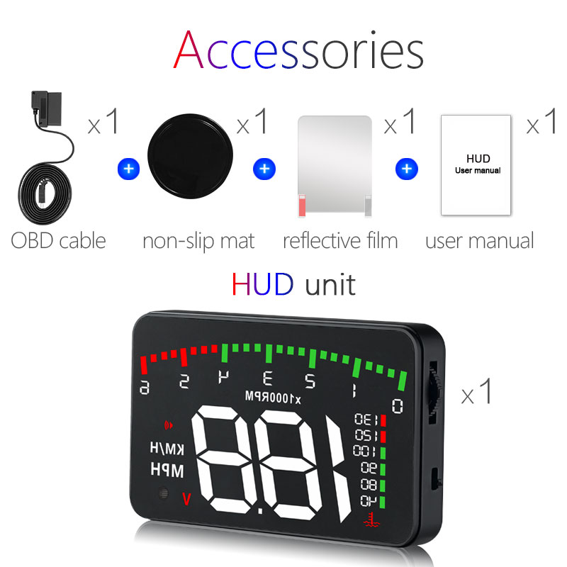 A100 3.5 A900 HUD Head-Up Display Car-styling Hud Display Overspeed Warning Windshield Projector Alarm System Universal Auto Pakistan