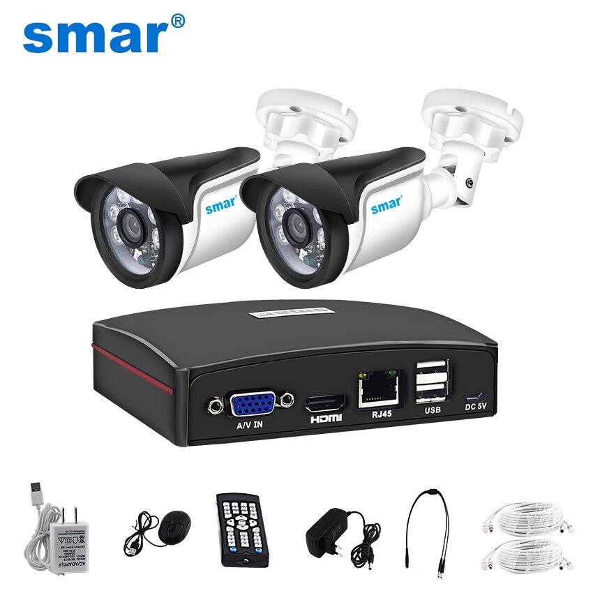 Smar 4CH CCTV Surveillance Kit 720 p/1080 p Caméra de Sécurité Système 4CH CCTV NVR Avec 2 pcs 1MP /2MP IP Caméra eSATA/TF/USB De Stockage