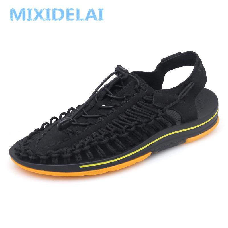 74ac8f103 MIXIDELAI Marca Tecer Seaside Praia Sapatos Sandálias de Verão Homens  Sapatos de Design de Moda Homens Sandálias de Qualidade Sapatos Casuais  Confortáveis