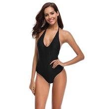 цена на New Sexy Deep V Swimsuit One Piece Suit Backless Halter Bathing Suit S-XL Girl Solid Black Pad Swimwear Low Cut Back Monokini