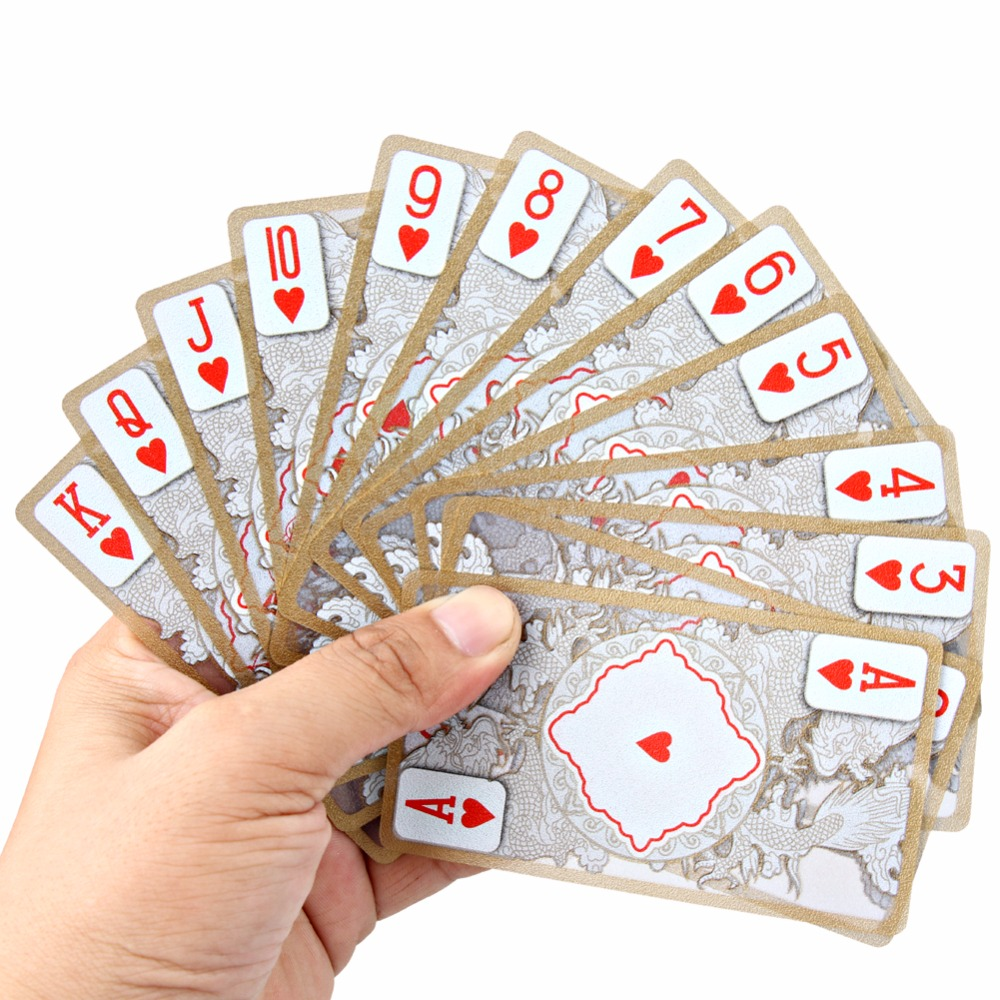 Waterproof Transparent PVC Playing Cards Poker Gold-plated Gold Foil Plastic Dragon Totem Card Novelty Magic Trick Wholesale