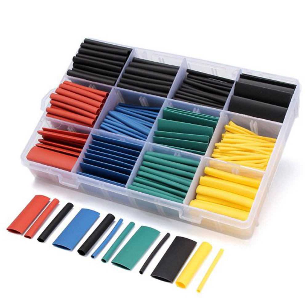 530pcs/set Heat Shrink Tubing Insulation Shrinkable Tube Assortment Electronic Polyolefin Ratio 2:1 Wrap Wire Cable Sleeve Kit 55m pack insulation polyolefin ratio 2 1 heat shrink tubing 11 sizes 6 colour shrinkable tube sleeving set
