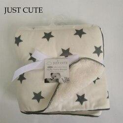 Apenas bonito dos desenhos animados cobertores do bebê engrossar dupla camada velo infantil envelope carrinho de criança envoltório para o bebê recém-nascido cobertor de cama