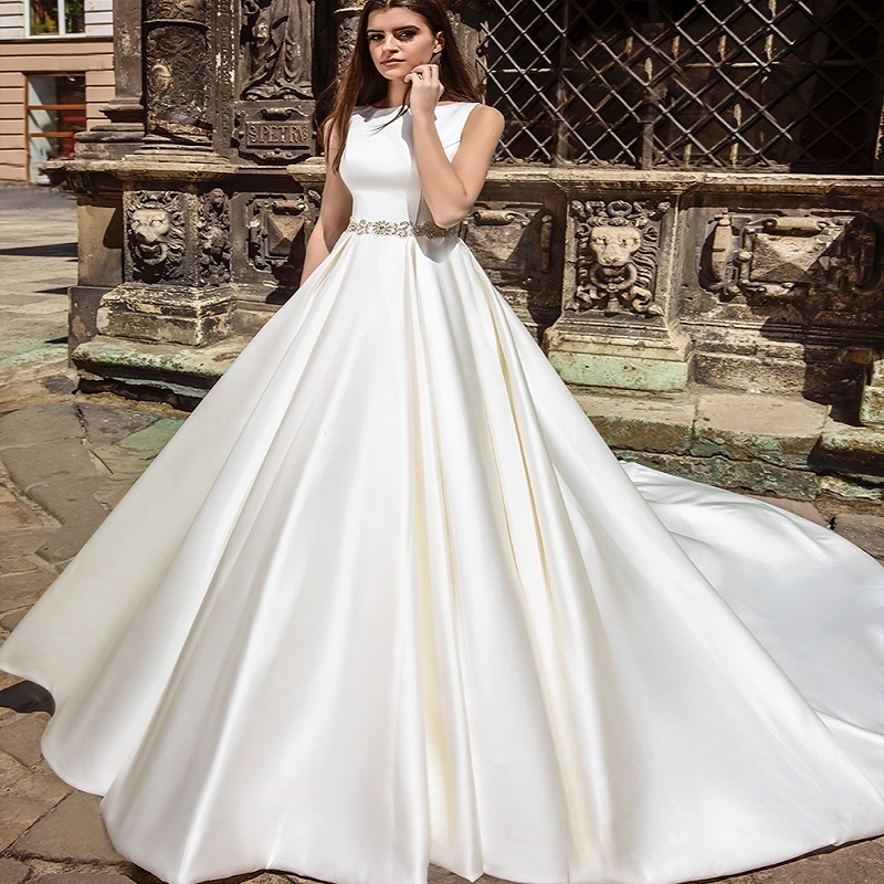 Wedding dress 2017 backlackgirls special design sleeveless for Simple elegant wedding dress designers