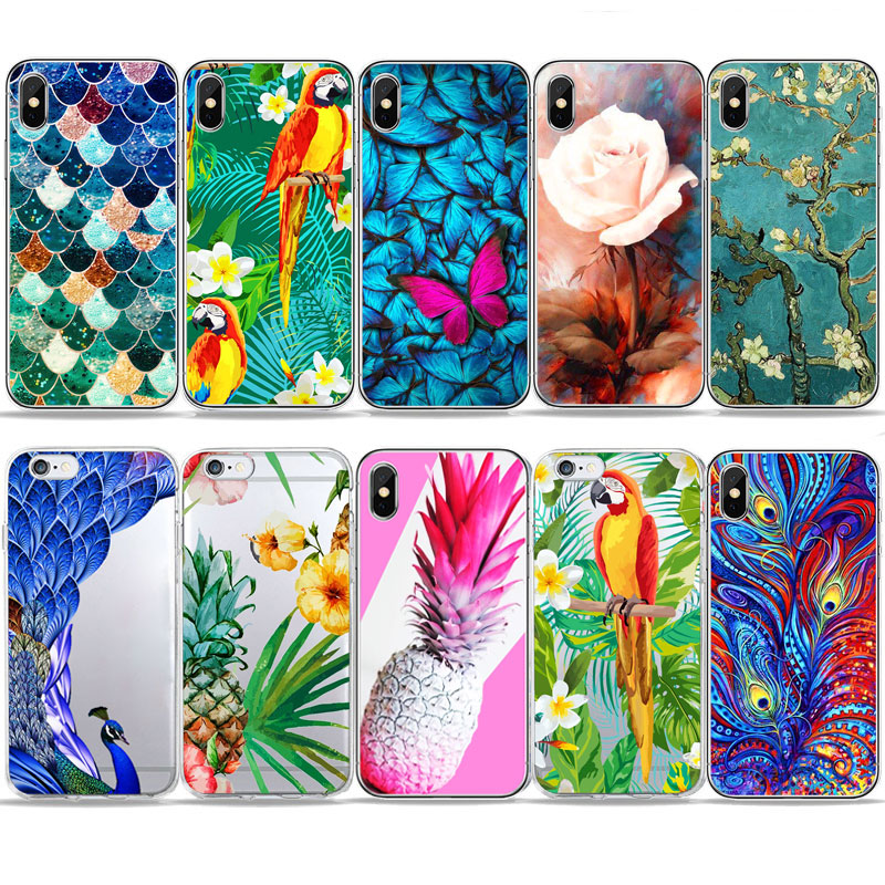 Tanaman Tropis Bunga Kupu Kupu Nanas Kasus Telepon Untuk Iphone 7 5 S Se 6 S 4 S Lembut Tpu Silikon Sarung Untuk Iphone X 8 8 Plus Setengah Dibungkus Kasus Aliexpress