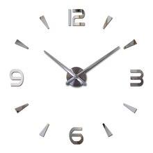 2015 real new limited Quartz watch big diy 3d mirror sticker Metal wall clock modern art clocks home decoration free shipping