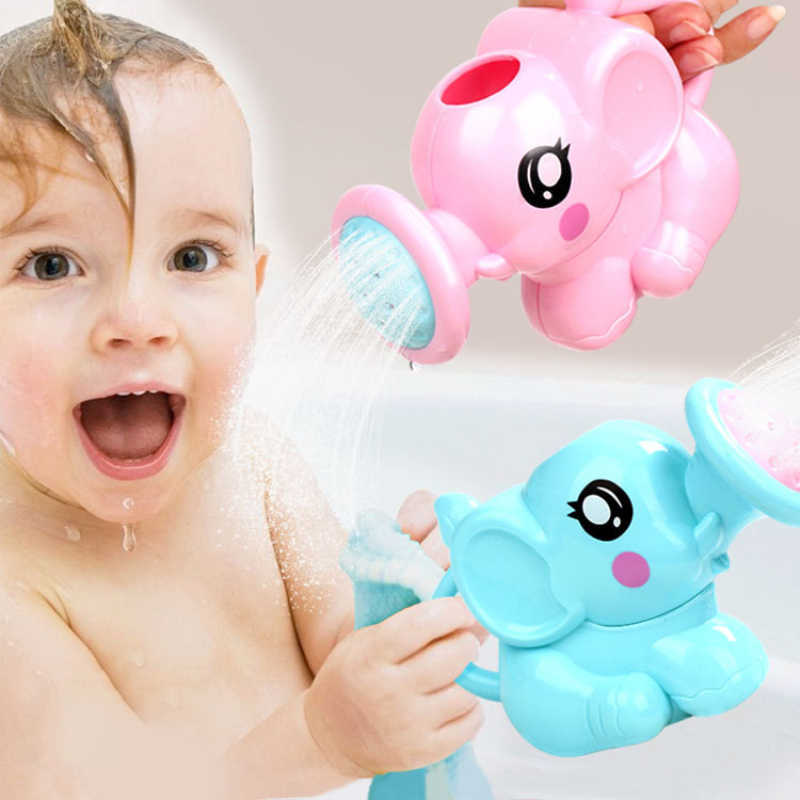 Eco-Friendly Baby Bathing Toys Cartoon Elephant Nose Shower Pumping Design Colorful  Animal Toy For kids Gift
