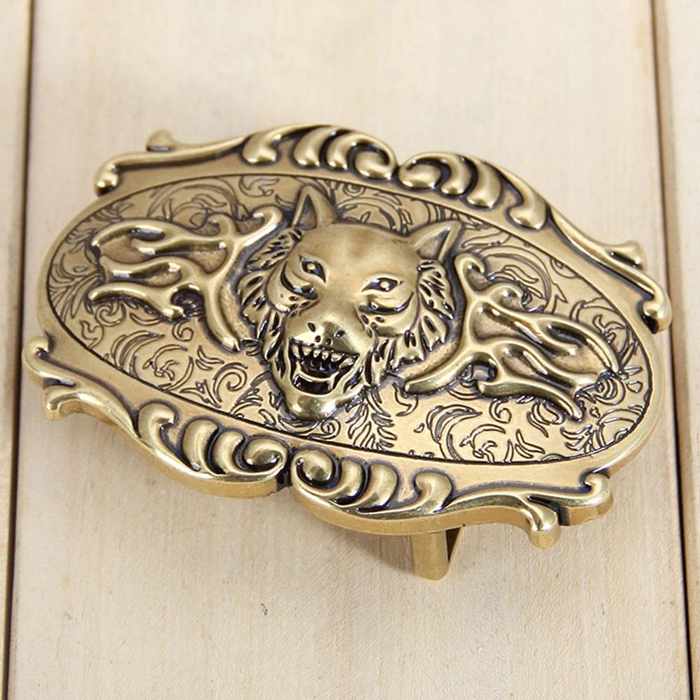 FAJARINA Unique Design 3D Wolf Head Pattern Zinc Alloy Gold & Slivery Fashion Smooth Buckle Only for 3.5-3.8cm Width Belt  BK015