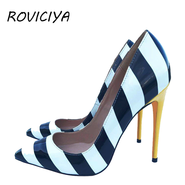 7b4ca910b8 Women Pumps White Black Yellow Strip Sexy Woman High Heel 12 cm Stilettos  Party Brand Designer Shoes Pointed Toe QP056 ROVICIYA