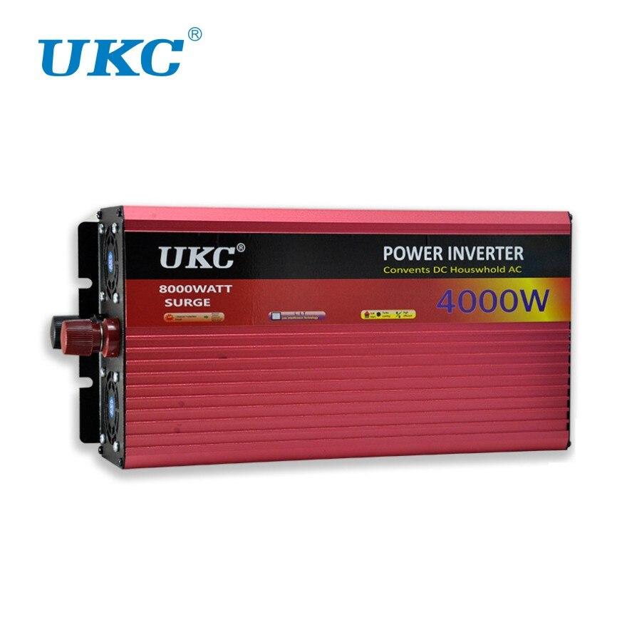 UKC 2000 W 3000 W 4000 W Car Power Inverter Convertitore di Tensione Con accendisigari DC 12 V AC 220 V Trasformatore Adattatore del Caricatore del USB