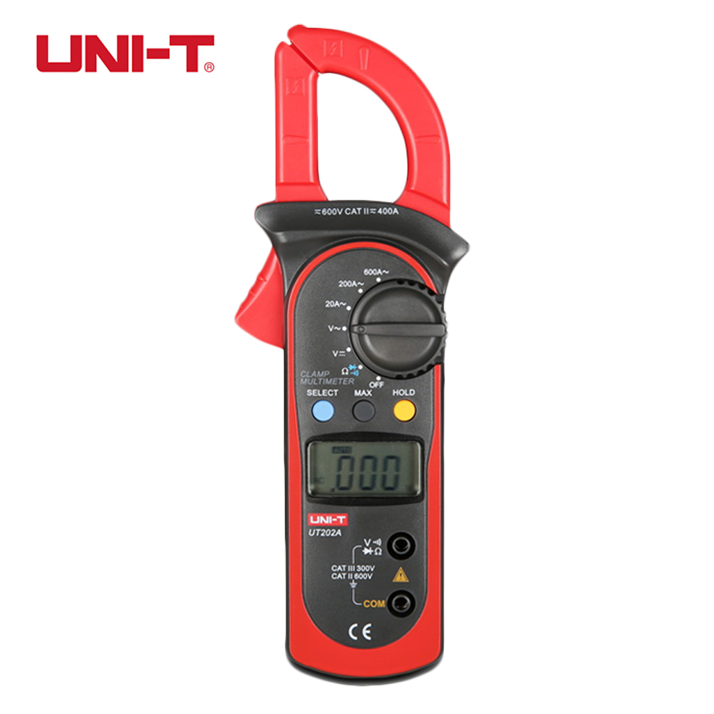 UNI-T UT202A Digital Clamp Meter Data Hold 600A DC AC Voltage Current Resistance multimeter pinza amperimetrica diagnostic-tool ulyde uni t ut202a ac clamp meter 600a