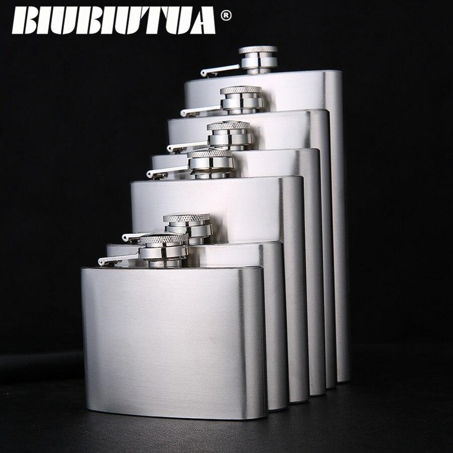 BIUBIUTUA 4 5 7 8 10 12oz Stainless Steel Mini Hip Flask Liquor Whisky Outdoor Portable Pocket Flasks Alcohol Bottle