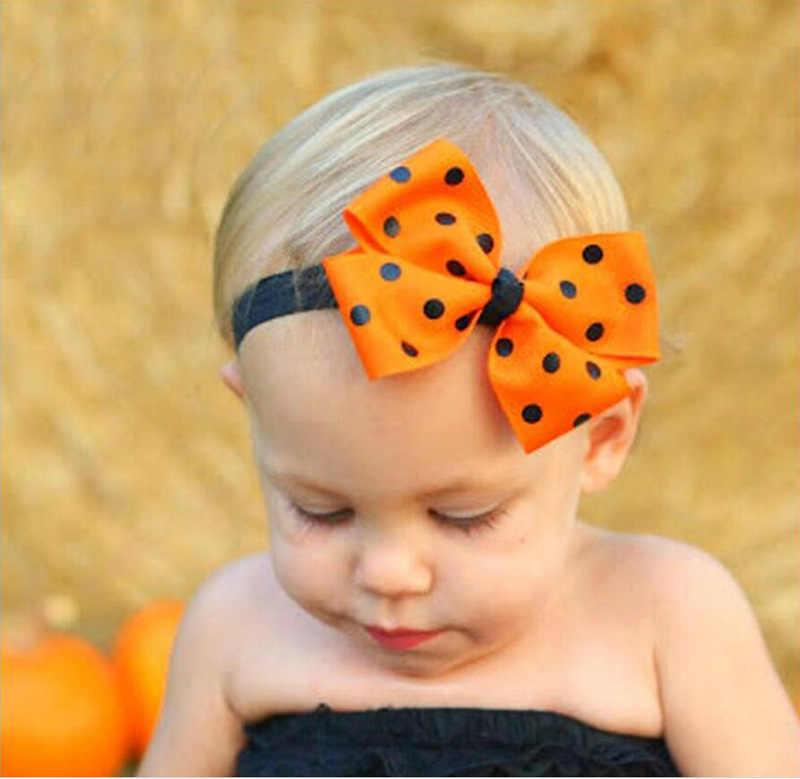 תינוק בנות Hairbows סרטי ראש ליל כל הקדושים סרט סרט קשת כובעים שחור נקודה כתום Bowknot גומייה לשיער לילדים כיסוי ראש