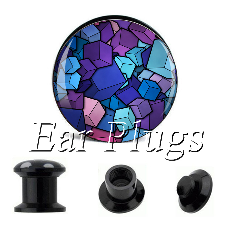 Wholesale Rhombic Cube plug gauges acrylic screw ear plug flesh tunnel piercing body jewelry