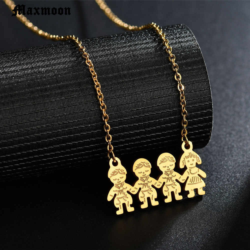 Maxmoon Stainless Steel Boy Girl Pendants Necklaces Fashion Family Chain Necklace For Children Kettingen Voor Vrouwen