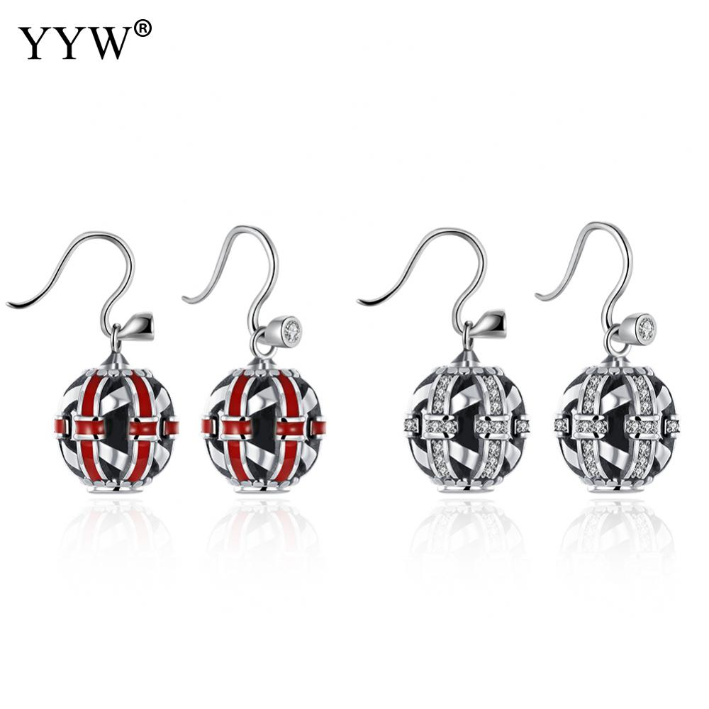 Authentic 925 Sterling Silver Earrings Clear CZ Crystals Surrounded Vintage Ancient Silver Women Drop Earrings Jewelry