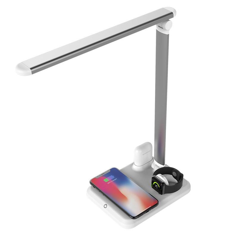 Hadinas 4 en 1 chargeur sans fil pour Apple iPhone X Xs Max XR 8 Plus LED lampe de bureau sans fil Charge pour Apple Watch Series 4 3 2