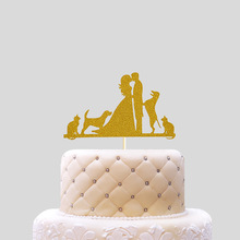 Cake Toppers Bride Bridegroom Dog Wedding Cake Topper Cupcakes flags Baby Shower Party Decoration Birthday Cake Accessory