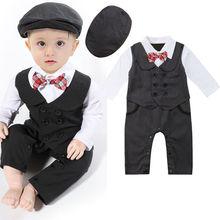 Деловой костюм для маленьких мальчиков вечерние свадебные смокинги джентльменский двубортный комбинезон+ головные уборы для детей от 0 до 24 месяцев