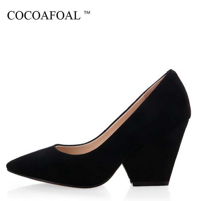 COCOAFOAL Woman Ultra High Heels Shoes Fashion Stiletto Sheepskin Wedding  Wedge Shoes Black Pointed Toe Genuine Leather Pumps 217c2d33a4f9