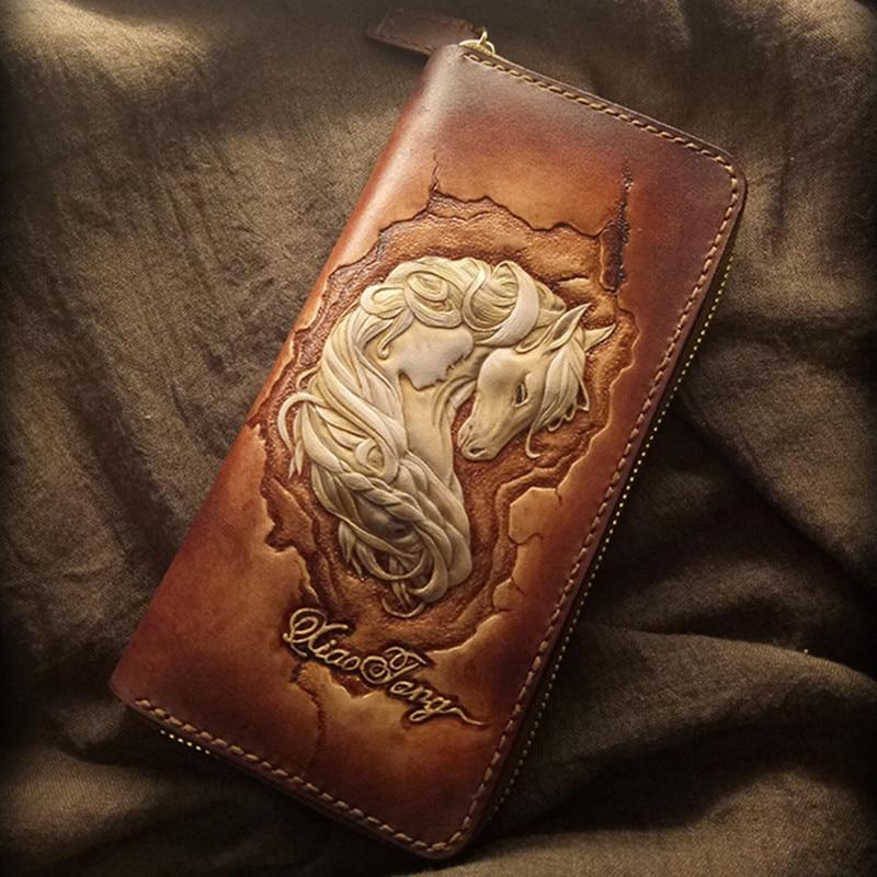 Unique Genuine Leather Wallets Carving Domineering Dragon Purses Men Long Clutch Vegetable Tanned Leather Wallet Card HolderUnique Genuine Leather Wallets Carving Domineering Dragon Purses Men Long Clutch Vegetable Tanned Leather Wallet Card Holder