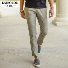 Enjeolon brand Ankle trousers Linen pants men top quality 2 color solid pants Slim clothing Straight males Causal clothes K1012