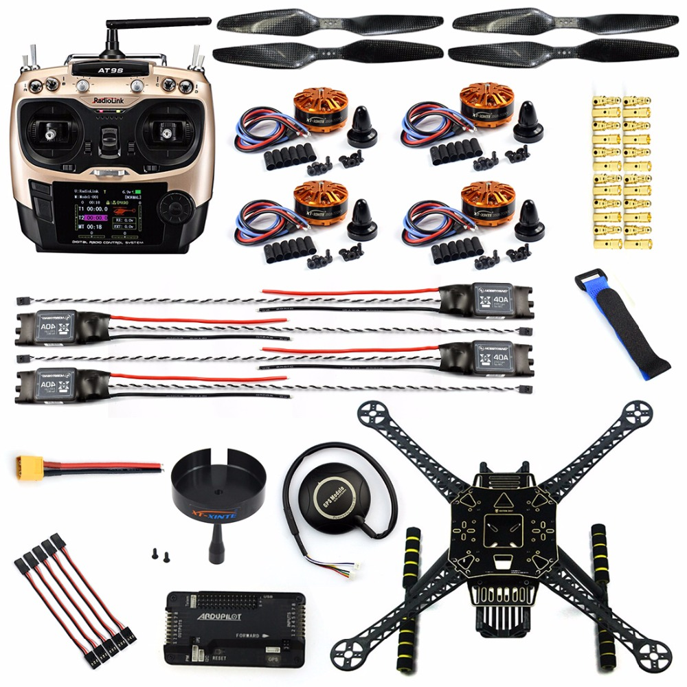 DIY S600 4-Axis Unassembled Quadcopter Kit GPS Racer Drone APM 2.8 Flight Controller with Landing Gear AT9S FS-I6 Transmitter