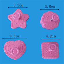 VOGVIGO 4 Pcs Love Blessing Theme Plastic Mold Biscuit Cookie Cutter Cake Fondant Decorating Tool Baking Accessories