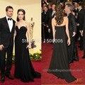 2016 Oscar Angelina Jolie Plisado Celebrity Dress Nueva llegada Vestidos Atractivos Negro Sin Respaldo Vestidos de Noche 2329