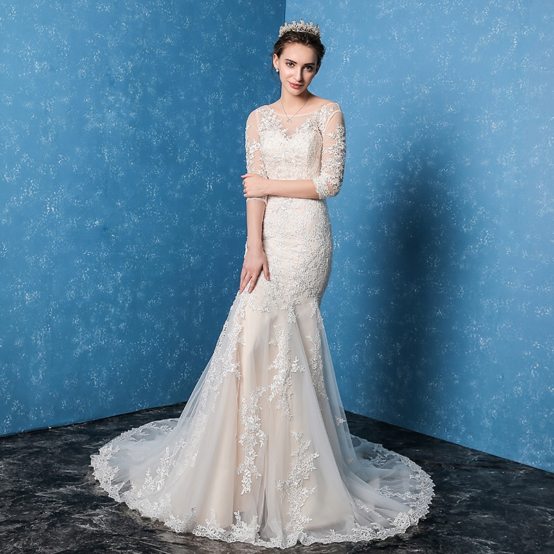 2017 Wedding Dresses China Half Sleeve Liques Court Train Backless Lace Up Vestidos De Novias In From Weddings Events On