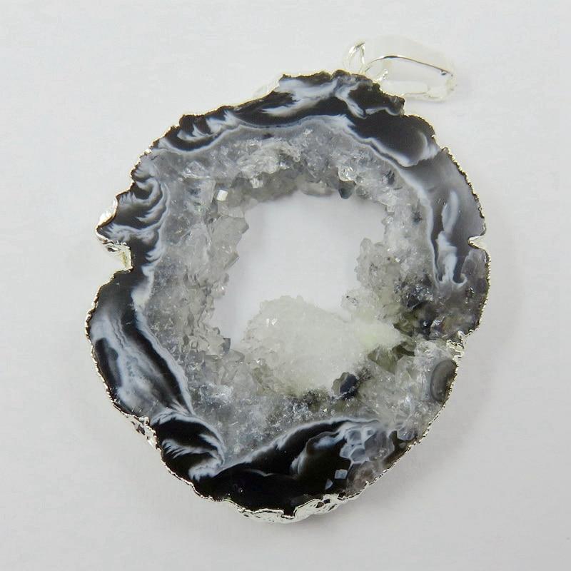 BOROSA Brazilian Agates Geode Druzy Slice - Electroplated Silver Color Edged Agates Slice Drusy Druzy Pendant