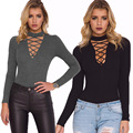New Style Autumn Lace Up Sexy Deep V Neck Women Sweater 2016 Elastic Bandage Knitwear Cotton jumper pullover Femme Pull