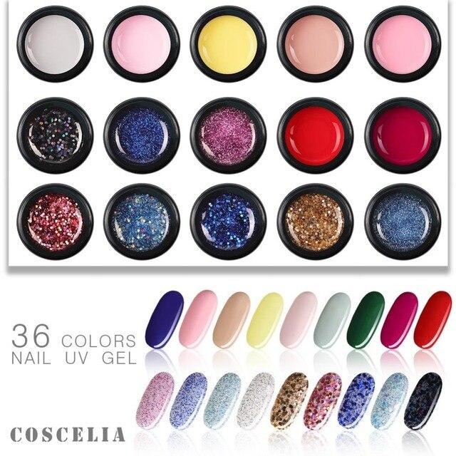 COSCELIA 36 Cor 5 ml Professional Nail Salon Gel UV Pintura DIY Embeber Off Pintura Verniz Gel Unhas de Gel Polonês gel Nail Art Manicure