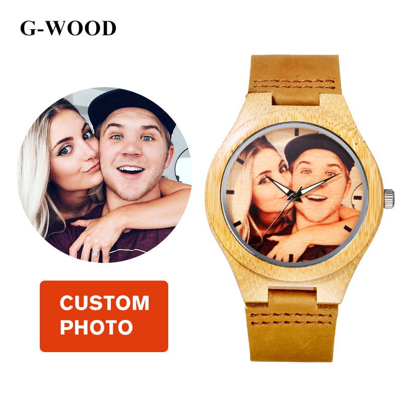 G-WOOD Custom Photo Couple's Wooden Watches 2018 Unisex Wood Bracelet - Балалардың сағаттары - фото 1