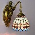 Средиземноморский минималистичный настенный светильник tiffany для гостиной  спальни  прихожей  ванной комнаты  бара  синего стекла  настенный...