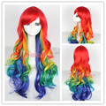 CS85&Wholesale 20145W **75cm rainbow Harajuku long Multicolour CURLY Wavy cosplay party hair wig