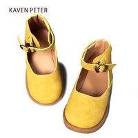 Leather ballet flats girls children vintage leather shoes Cow Muscle sole female sneaker kids casual shoes yellow pink coffee